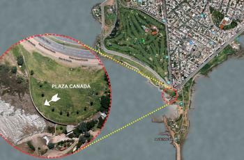 Plaza Canadá, en Rambla Pte. Wilson y Bulevar Artigas (Punta Carretas), lugar en el que realizaremos la observación del eclipse.